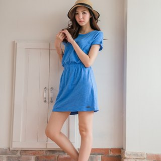 Slim Slim Cotton Casual Dress - Sky Blue