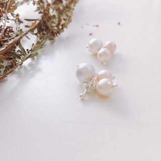 Sterling Silver Tricolor Pearl Earrings