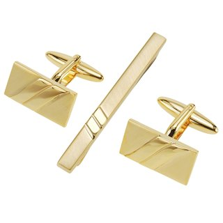 Gold Two Tone Cufflinks and Tie Clip Set