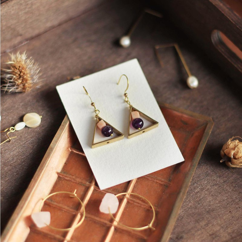 Natural Stone Geometric Brass Earrings - Wild Raspberry Sandwich