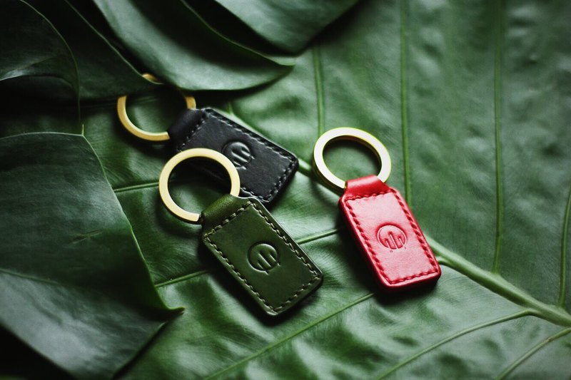 HUANGS 艸一田人-Christmas Gifts-European imported vegetable tanned leather handmade key ring and charm