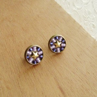 Deco tiles Earrings sparkling star blue purple mosaic beads