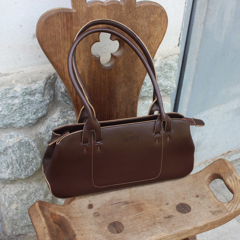 Vintage Italian RICERCHE DI ENRICO COVERI Brown Shoulder Tote