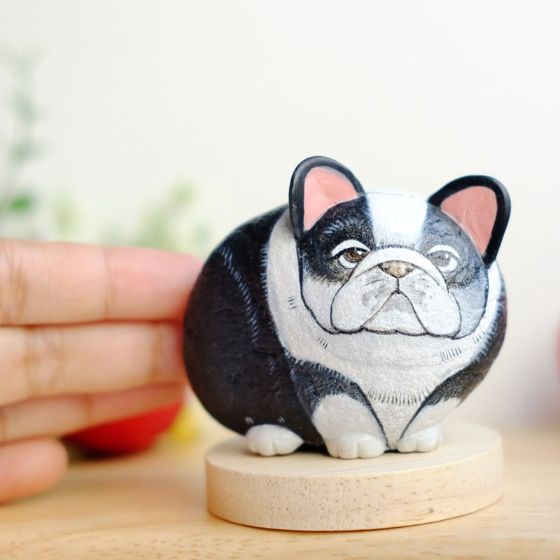 French bulldog stone painting.acrylic colour on stone,Stone gift handmade.