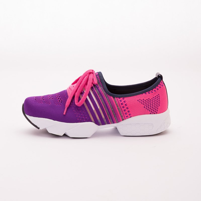 Large size women's shoes 41-45 Taiwan made fashion sports wind fake straps casual shoes 3.5cm purple