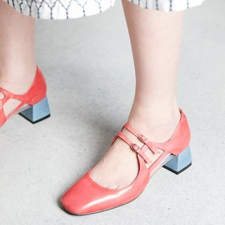 H THREE Square Head Mary Jane / Rose Red / Red / Thick Heel / Vintage