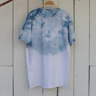 Comfortable hand-dyed isvara blue sky dyed pure cotton T-shirt Series
