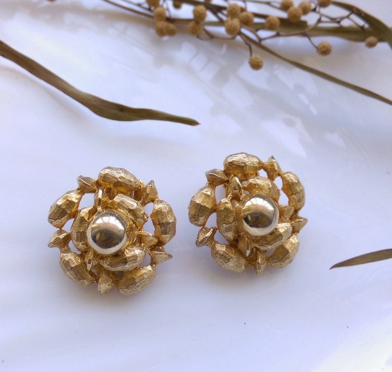 [Western antique jewelry / old age] original temperature brush gold clip earrings