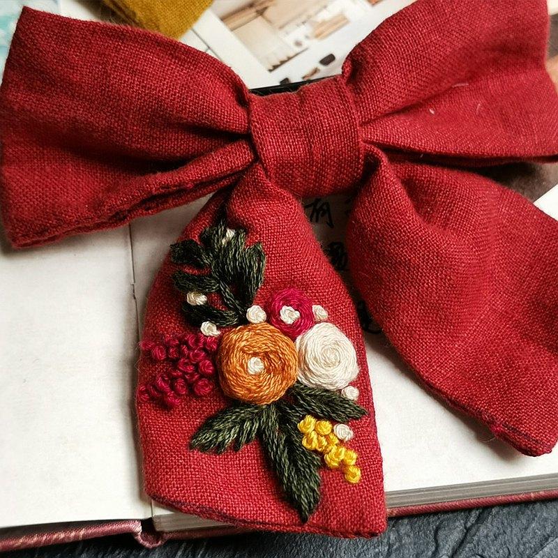 原創設計刺繡手工自繡初學者兒童蝴蝶結髮夾 diy材料包手作禮物