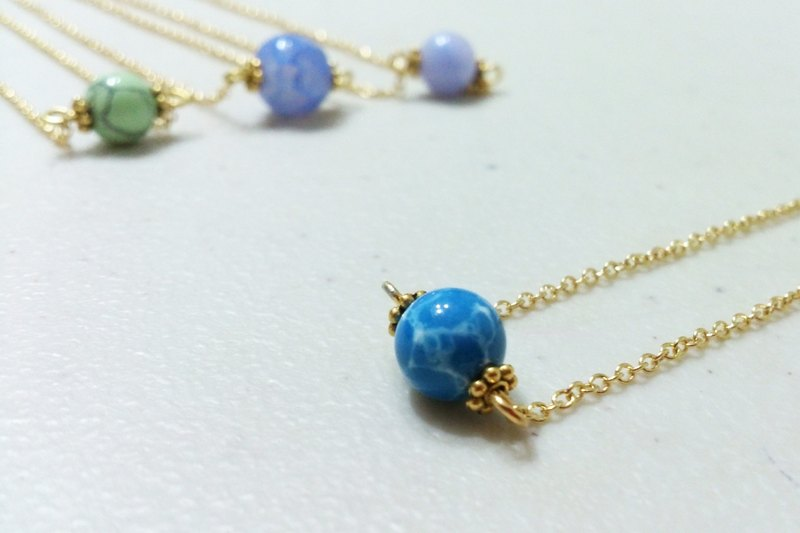 Asteroid blue turquoise necklace ~