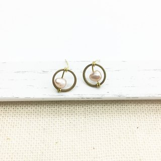 Old forest groceries l natural Shanghai pearl brass small eyes hand made earrings ear hook l ear pin l ear clip