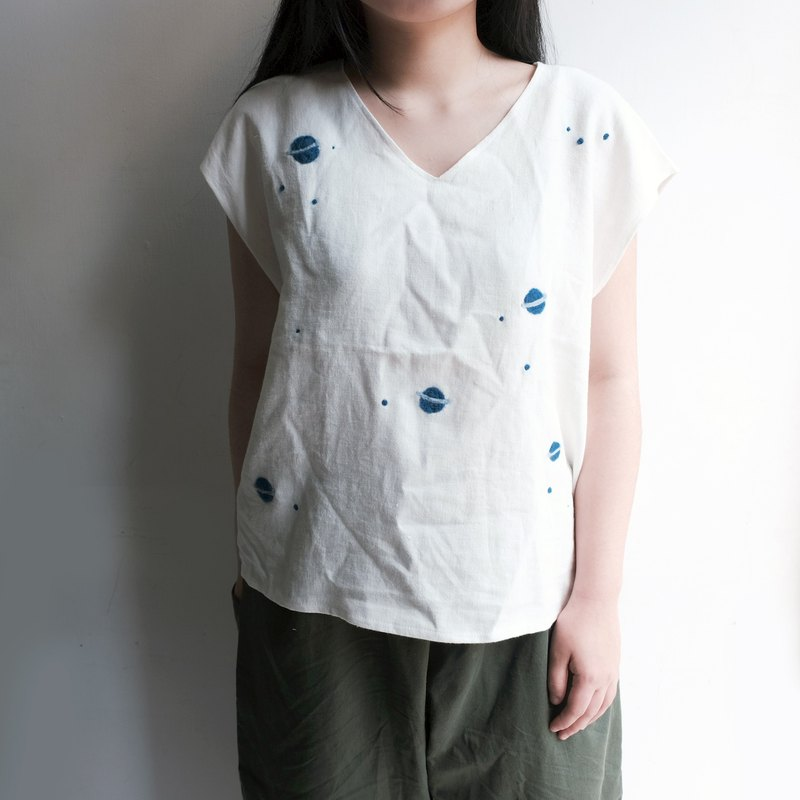 Japanese short-sleeved V-neck shirt, I am your all-cosmic hand-made shirt