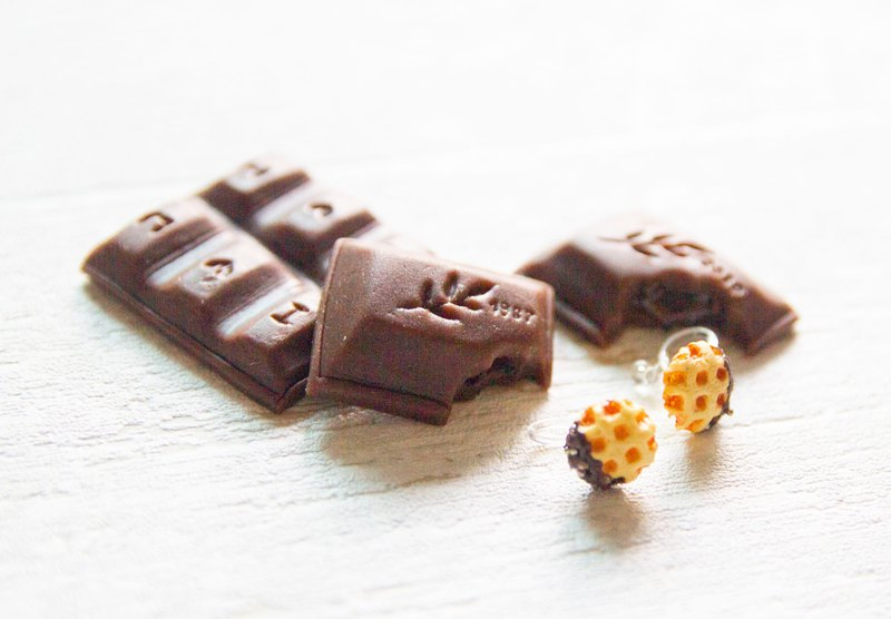 Mini chocolate with pearl sugar Belgian Liege waffle earrings
