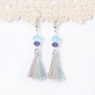 Two tassels. Powder blue powder purple. Swarovski. Earrings Two Colorway Tassel. Pastel Blue Pastel Purple Swarovski Crystal. Earrings