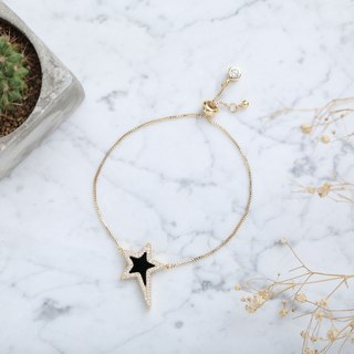 Love Me Like A Star Bracelet Black Agate Star Crystal Gold Bracelet