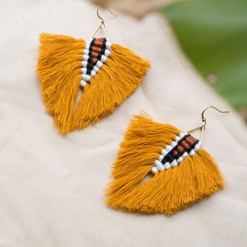 Walking the jungle - braided totem fringed big earrings