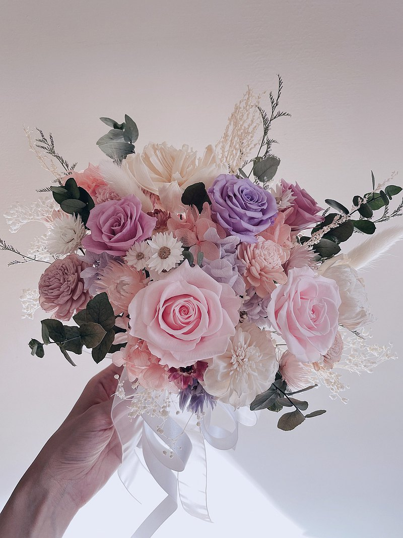 Journee Spring Inflorescence Pink Purple Dry Bouquet Eternal Flower Dry Flower American Bouquet Bridal Bouquet