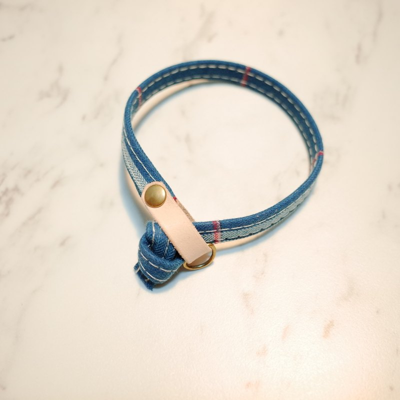 Cat collar double-sided design Turkey's style blue-green checkered Japanese cloth with bells