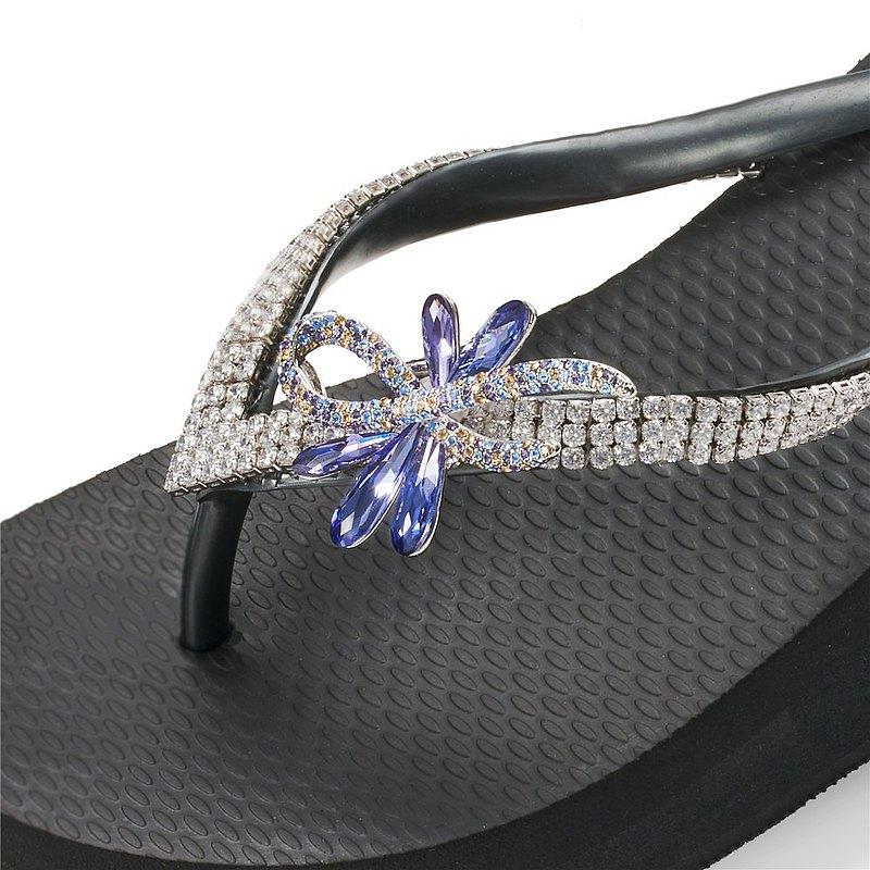 女款3cm厚底夾腳拖鞋-頂級首飾工藝水鑽-華爾舞姿紫藍 爵士黑