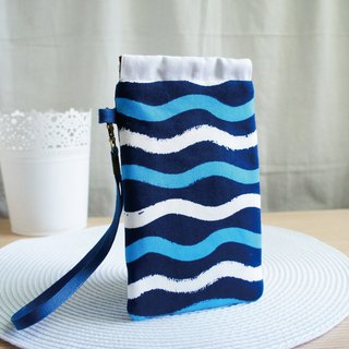 Lovely [Japanese cloth] blue ripple mobile phone bag, pencil case, glasses bag, 5.5 吋 mobile phone available