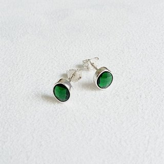 Cat eye shape glass/Green/Earrings/Swarovski Crystal/Sterling Silver/By hand【ZHÀO】SZE1640