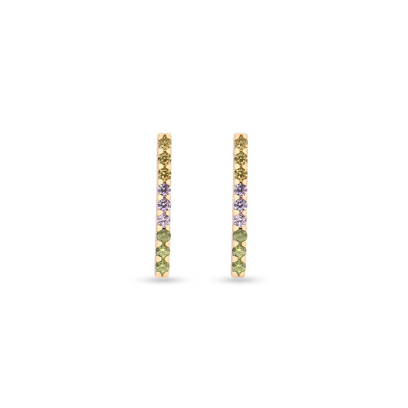 The Bling Earrings - Multicolored Cubic Zirconia Bar Earrings