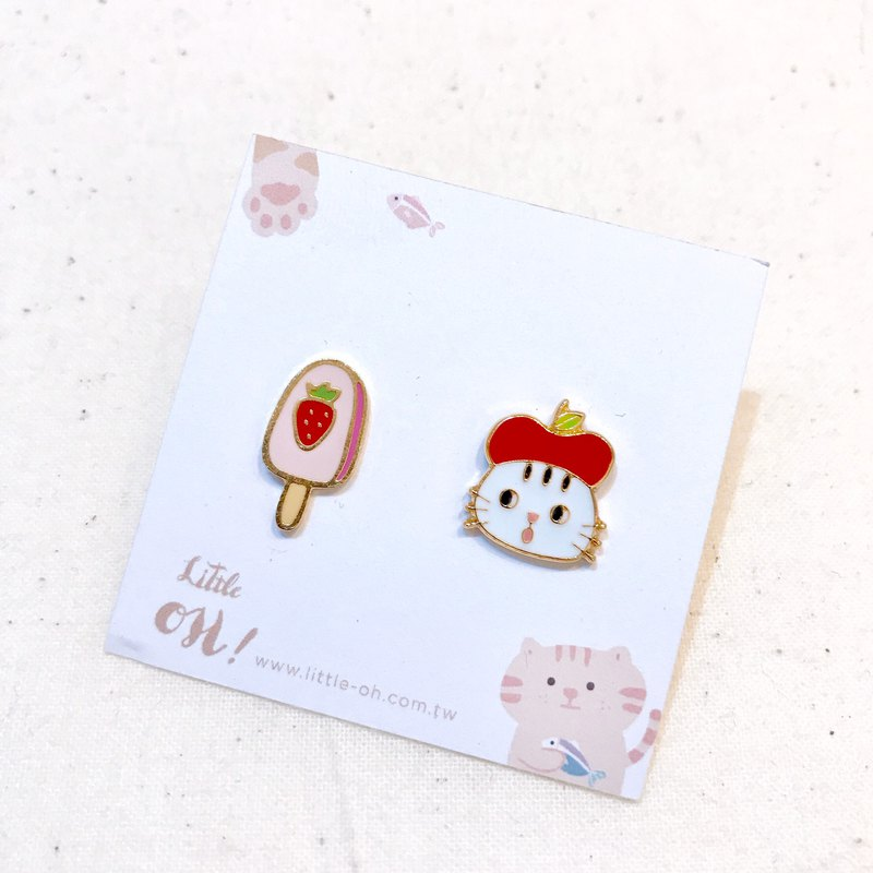 Apple cat eat strawberry ice - hot sale with ear pin / ear clip