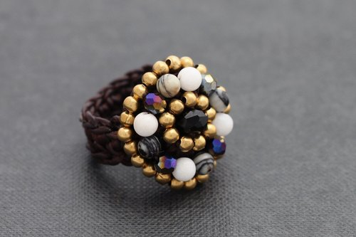 Crochet Glam Rings Crystal Stone Mix Black Facet Woven