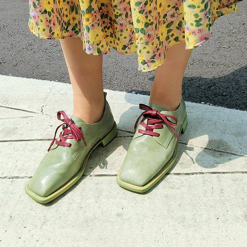 Square head leather lace-up shoes || Faust Lover Grass Green || 8284