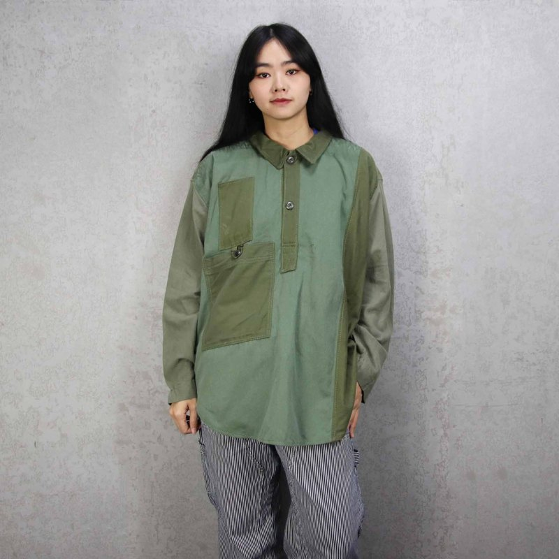 Tsubasa.Y Ancient House 006 Re-splicing long-sleeved military lining, stitching military green shirt