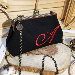 Custom Embroidery- Handmade 2way  frame bag -black/red