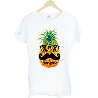 Pineapple-bonjour girls short-sleeved T-shirt - white beard pineapple Hello French food design own brand Wen Qing