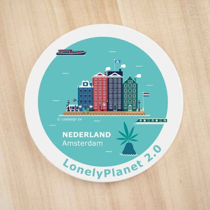 Ceramic water coaster - Amsterdam, The Netherlands