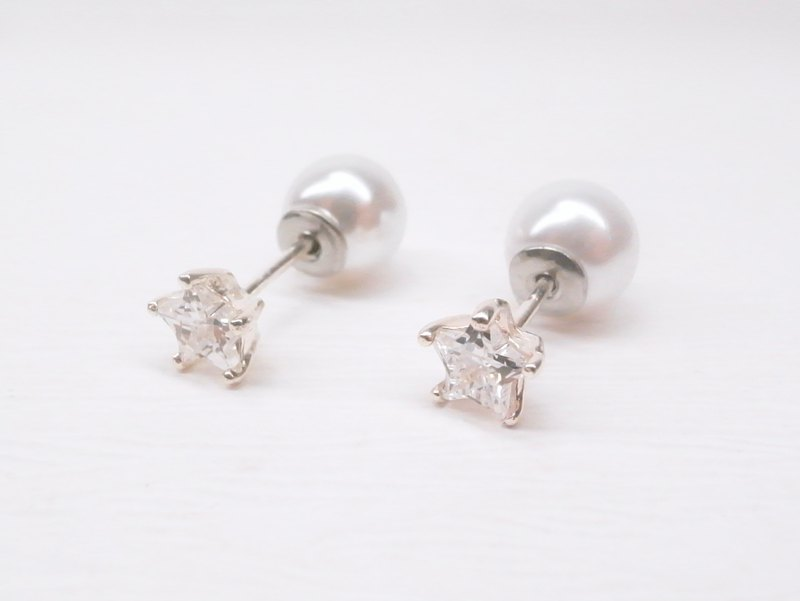 Ermao Silver [sterling silver star zircon small earrings imitation pearl buckle] a pair