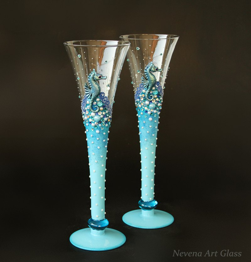 Seahorse Glasses Champagne Wedding Beach Blue, hand painted set of 2