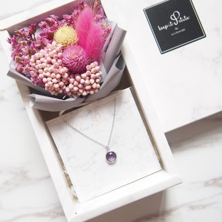 [Cloud Stone Gift Box Set - Necklace] Amaranth Bouquet of Purple Rabbits + Purple Round Stone Necklace
