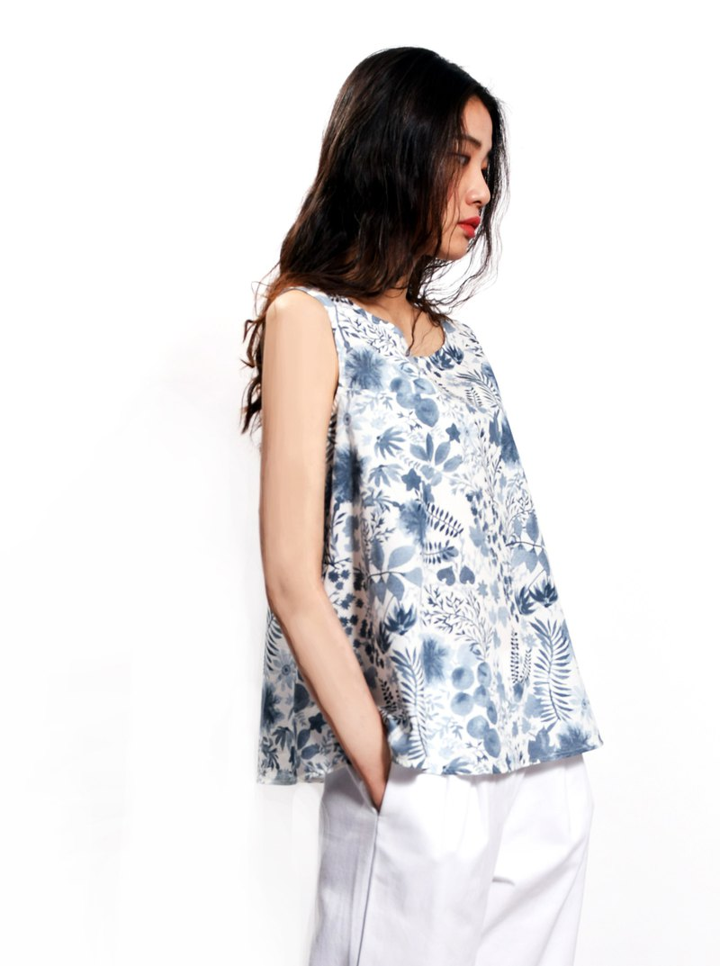 [Fresh flower umbrella-shaped sleeveless top _ artist Lin Siting printing design _ limited edition handmade cotton]