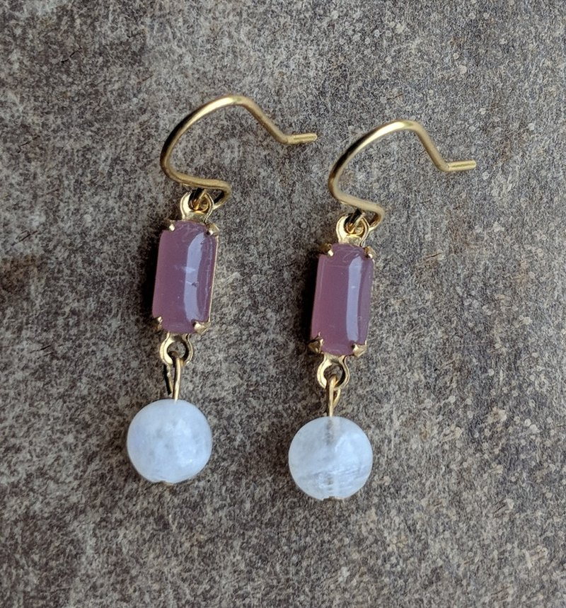 Purple Glass Natural Stone Drop Earrings