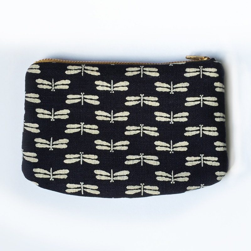 Small Padded Zipper Pouch, Cosmetic Bag, Japanese Indigo Dragonfly Cotton