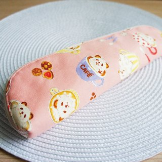 Lovely [Japan cloth] CAFE cat bear flower cutlery bag, pencil case, pink 23-24 cm chopsticks