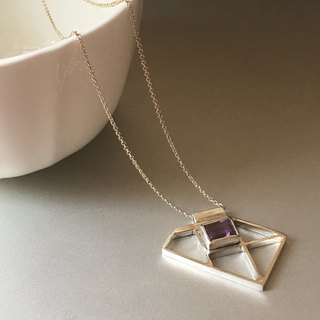 Rectangular Amethyst pendant necklace
