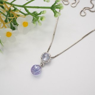 Silver 925 setting Lavender Cabochon+Briolette ball Pendant on Italian box chain