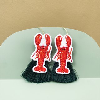 Lobster patch with dark green tassel Earrings