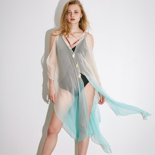 Try beachwear kaftan dress in white-blue