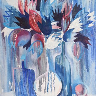 Blue Still Life, Flowers - original painting, artwork, wall art