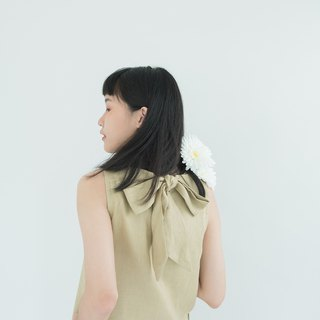 Sand Big Bow Linen Dress