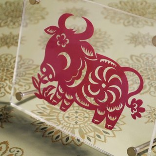 Cut paper, Well [Cattle] / twelve 个生 Xiao [cow]