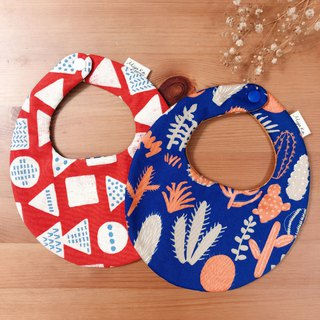 ((I want to bring two together)) Infant baby bib pocket six-fold yarn modeling bib Japanese double-sided use