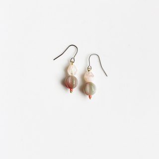 Campanulaceae natural stone glass beaded earrings