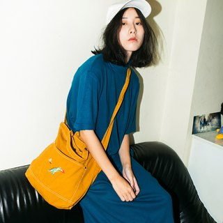 T rex / Bronto Embroidery - Canvas Crossbody Bag: Yellow Mustard
